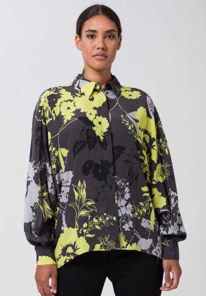 Kimonobluse SPICY LIME mit weiten Ärmeln und breiter Manschette