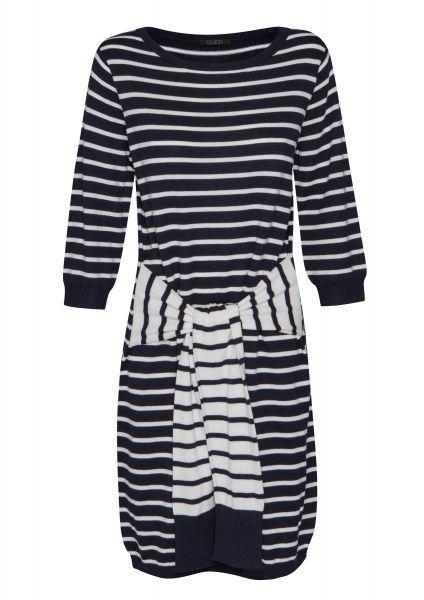 Kleid RE-FRESH BLUE mit gebundenen Fake-Ärmeln auf Hüfthöhe